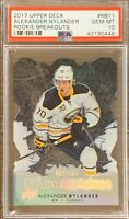 2017 2018 UPPER DECK Alexander Nylander PSA 10 YOUNG GUNS ROOKIE BREAKOUTS #/100