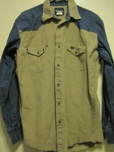 Wrangler BLUE JEAN/TAN LONG SLEEVE WESTERN/COWBOY SHIRT W/SNAPS MEN SZ L/TALL