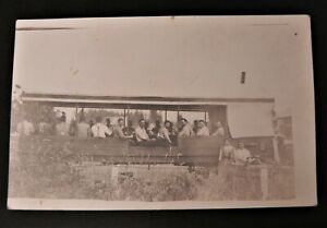 Rare Dining Lunch Wagon Diner Car RPPC Real Photo Men Cafe Farm Ranch Food Women