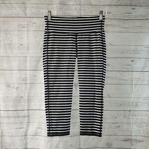 Athleta Womens Striped Chaturanga Capri Leggings Sz Medium Black Black White