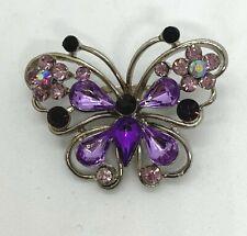 Vintage Silver Tone  Purple Rhinestone Butterfly Brooch Pin Jewelry