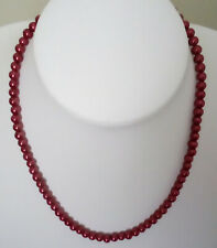 """24"""" 6mm Burgundy Glass Pearls Silvertone Lobster Clasp 2"""" Extension Chain RM7"""
