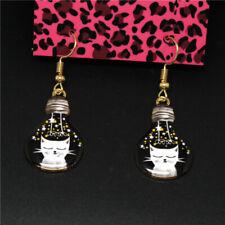 Black Enamel Cute Playful Cat Bulb Betsey Johnson Women Stand Earrings