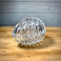 Vintage Crystal Egg Shaped Dish Trinket Bowl