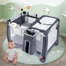 Foldable Travel Baby Crib Playpen Infant Bassinet Bed Mosquito Net Music w/ Bag
