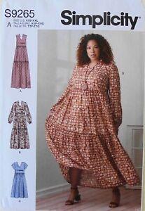 Simplicity 9265 Misses' Tiered Dresses Sewing Pattern Sz XXS-XXL