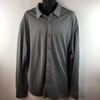 Untuckit Mens Button-Up Shirt Gray Textured Long Sleeves Button Cuff Cotton XXXL