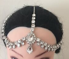 Silver Crystal Indian Matha Patti Tikka Head Chain Jewelery Bridal Wedding 2