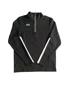 Under Armour Mens UA Qualifier 1/4 Zip Pullover 1273917-001 Black/White Small
