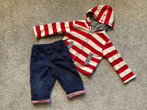 Jojo Maman Bebe Baby Boy's Outfit 6-12 Months - Trousers & Reversible Hoodie