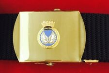 HMS Spartan Military Style Black Nylon Webbing Belt with Bright Brass Buckle