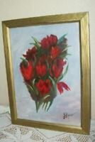 VINTAGE FLORAL OIL PAINTING RED TULIPS GOLD FLUTED FRAME VINTAGE MID CENTURY