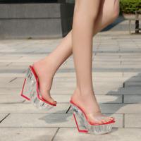 Womens Wedge Mule High Heels Sandals Pvc Open Toe Slipper Platform Slip On Shoes