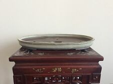 Japanese Vintage Bonsai Pot singed 若日窯 / large size W43 D30 H4 [cm]