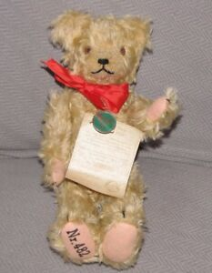 "HERMANN INFLATION BEAR REPLICA VINTAGE LOOK MOHAIR JOINTED 8"" 11"" # 482 OF 500"
