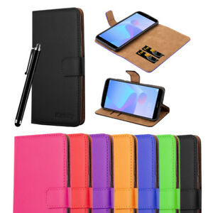 iCatchy® Leather Wallet Flip Book Stand View Case Cover For Huawei Y6 2018 Phone