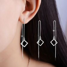 wholesale 925 Sterling Silver Earrings square Ear Line Women Fashion Jewelry