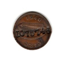 Rare Countersunk 1940 Irish Copper Half Penny Coin with Number 1075746