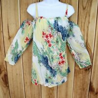 Chaps Blouse Top Shirt Womens Size 1X Yellow Floral 3/4 Sleeve Off The Shoulder