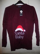 Boohoo Red Wine Maternity SANTA BABY Christmas Jumper *Size S/M -8-10* BNWT