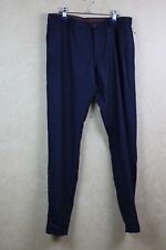 ea34fdfd Mens Zara Pants Basic Collection Flat Front Casual Long Navy Blue Cotton  Size 34