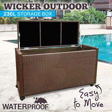230Litre PE Wicker Outdoor Storage Box Weatherproof Rattan Chest Garden Deck Toy
