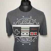 Nintendo NES Classically Trained Retro Gaming Game Controller Grey T Shirt XL