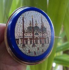 Victorian Silver Micro Mosaic Italian Brooch  ST. MARK'S BASILICA Venice c.1890