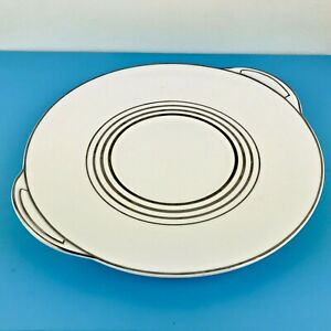Royal Doulton Cake Plate White/Silver Art Deco style H4937 Identical to Royalty