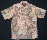 Tommy Bahama Hawaiian Aloha Leaves Floral Loop Collar Silk Short Sleeve Shirt S