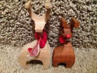 Vintage Pair of Hand-Carved Wood Holiday Reindeer