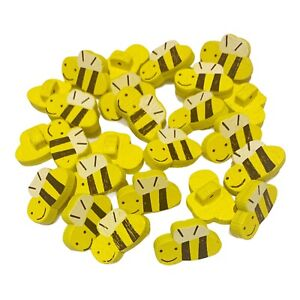30 YELLOW HAPPY BUMBLE BEE WOODEN SHANK BUTTONS - CRAFT - SCRAPBOOK - SEWING