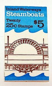 US BOOKLET SC BK166 20/25¢ STEAMBOATS~1989~OPENED~MNH/OG