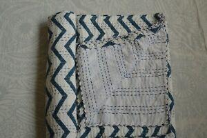 Queen Size Hand Block Indian Hand Block Striped Kantha Quilt Cotton Bedspread**