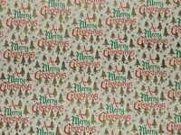 VTG A MERRY CHRISTMAS RETRO WRAPPING PAPER 2 YARDS GOLD TREES NOS VERY STURDY