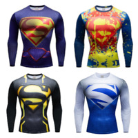 Compression top gym superhero avengers marvel muscle Superman MMA Cycling BJJ