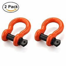 """2 Pack Heavy Duty 3/4"""" Ring Shackles with 7/8'' Pin Bow Screw Jeep Vehicle Haul"""