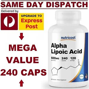 Nutricost Alpha Lipoic Acid 600mg 240 Caps PREMIUM Quality VALUE PACK AU STOCK!