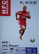 Programm 2003/04 HFC Hallescher FC - VFC Plauen