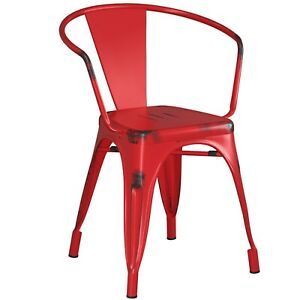 Industrial Style Distressed Red Metal Restaurant Patio Dining Armchair
