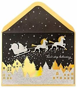Papyrus Glitter Unicorns Christmas Holiday Greeting Card ~ Don't Stop Believing