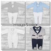 Baby Boy All-in-One Suit Wedding Christening Formal Party Smart Outfit 0 - 9m
