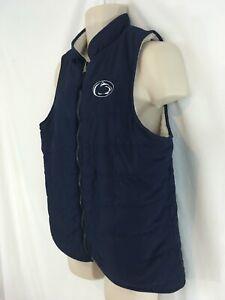 Penn State Nittany Lions Womens L Blue White Fleece Reversible Zip Front Vest