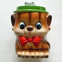 Vintage Small Ceramic Brown Cat With Red Bow Tie and Green Hat Cookie Jar & Lid