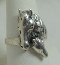Horse Mare Foal Sterling Silver Ring  SZ 8  r56