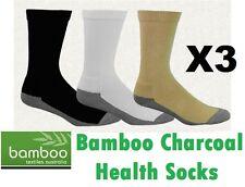 3x Pair Bamboo Charcoal Health Socks Loose Fit Circulation Problems Diabetics