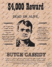 $4000 REWARD DEAD OR ALIVE BUTCH CASSIDY OLD WEST WANTED POSTER 041