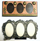 Two+Vintage+Picture+Frames+-+3+Openings+-+Oval+Shaped+-+Deco+Metal+6%22+Wide