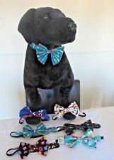 """Dog Bow Ties on Elastic fit 18"""" Neck Medium or Large Dog Camper All-sorts Train"""