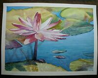 "Beautiful Watercolor Painting 12""x 9"" Water Lily"